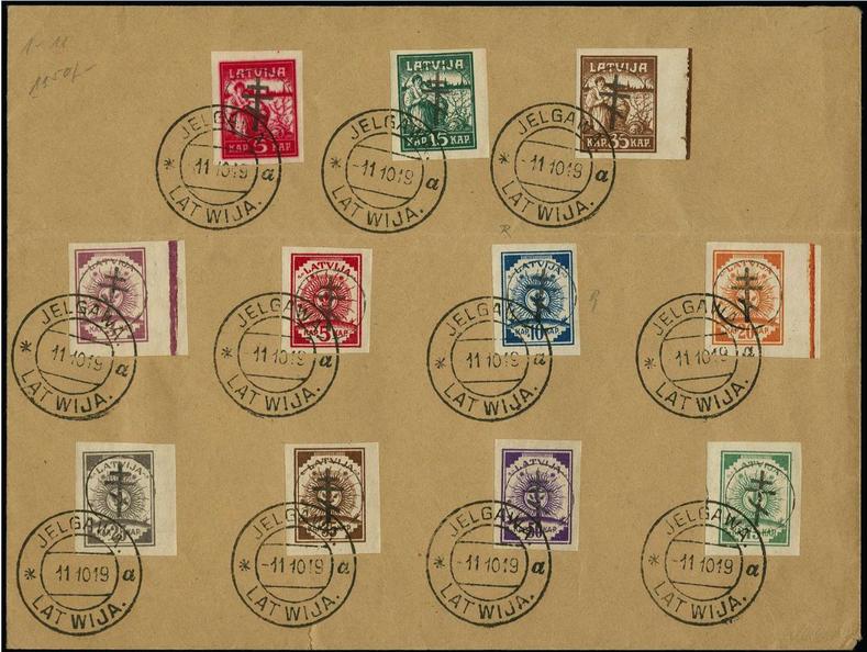 Aploksne ar 1. izdevuma virsspieduma pastmarkām, zīmogota Jelgavā. Pārdota izsolē par 520 €.