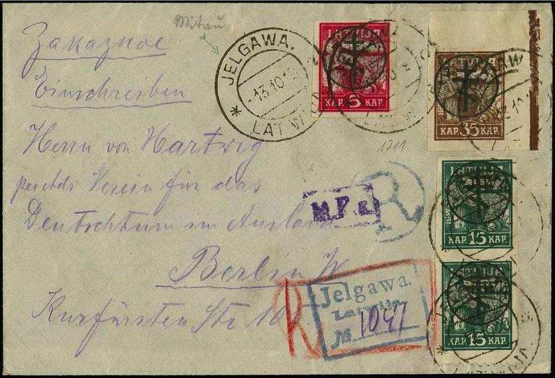 Aploksne ar 2. izdevuma virsspieduma pastmarkām, zīmogota Jelgavā. Pārdota izsolē par 540 €.