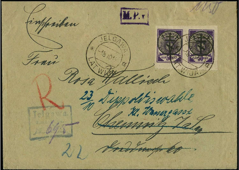Aploksne ar 2. izdevuma virsspieduma pastmarkām, zīmogota Jelgavā. Pārdota izsolē par 420 €.