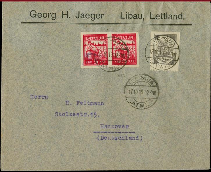 No Liepājas uz Vāciju nosūtītas vēstules aploksne ar papildu frankējumu. Pārdota izsolē par 440 €.