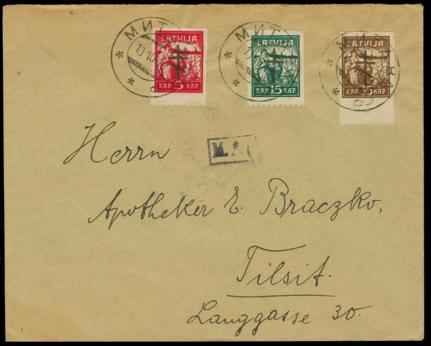 Aploksnes ar 1. izdevuma virsspieduma pastmarkām, zīmogotas Jelgavā. Pārdotas izsolē kopā par 1 000 €.