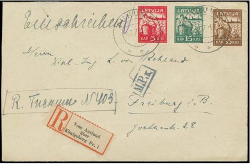 No Tukuma uz Vāciju nosūtītas vēstules aploksne. Pārdota izsolē par 144 €.