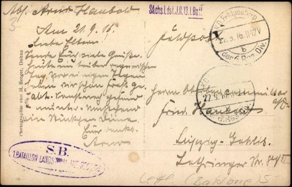 Otra puse Sakšu 16.zemessargu pulka 1.bataljona zīmogs 1916.gada 22.septembrī
